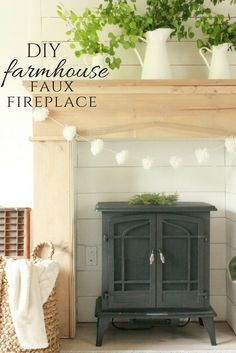 diy interieur Add warmth, character and style to your home with this easy DIY faux farmhouse style fireplace and mantel. Raw wood, shiplap, and a freestanding fireplace! Home Remodeling Diy, Farmhouse Bedroom Decor, Faux Fireplace, Diy Remodel, Faux Fireplace Diy, Easy Home Decor, Master Bedrooms Decor, Fireplace, Freestanding Fireplace