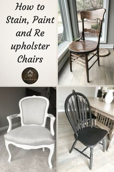 How to stain an antique chair, how to paint a wood chair, how to reupholser a chair