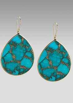 Ippolita  Extra-Large Teardrop Earrings, Bronze Turquoise