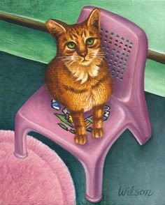 Cat Sitting On A Painted Chair~~By Carol Wilson