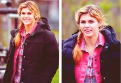 Alexandra Daddario as Annabeth Chase on the set of Percy Jackson and the Sea of Monsters (and she's blonde this time around!)