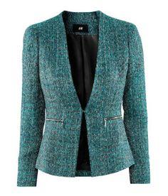 H green tweed blazer Tweed Blazer, Blazer Jacket, Hijab Fashion, Fashion Dresses, Chanel Jacket, Business Attire, Work Attire, Mode Style, African Fashion