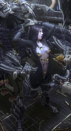 'No.02' ~cyborg girl illustration by yintion J (on Artstation) - detail