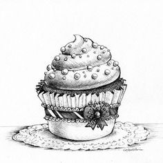 coloring for adults - kleuren voor volwassenen Love the details, like a lace garter on the cupcake! Coloring Book Pages, Coloring Sheets, Diy Image, Arte Art Deco, Cupcake Tattoos, Cupcake Art, Vintage Cupcake, Cupcake Drawing, Digi Stamps