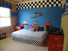 Race Car Bedroom I Love The Large Checker Border On Focal Wall Also Really Dig Racing Stripes It Themed Without Going Overboard