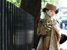 今時の七五三コーディネート「着物&帽子」