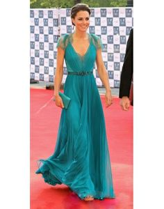 Princess Kate V-neck Blue Chiffon Lace Dress only for $189.99- PERSUN