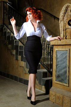 Pinup Couture - Lauren Dress in Black and White Sateen