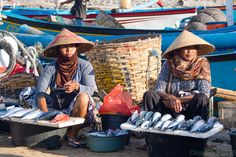 Jimbaran seaside village on Bali  possesses a very attractive fish market. Here the men go fishing and the women take care of the sales