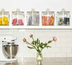 Kitchen Update: Shelf Styling 2.0 - Check out our jars, @ScoutStudiosOKC made them look great!