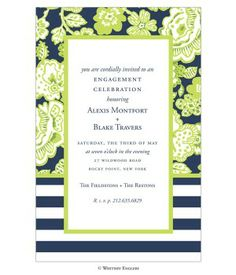 Pea Pod Paper and Gifts Green Navy Brooke Invitation - Invitations - Wedding
