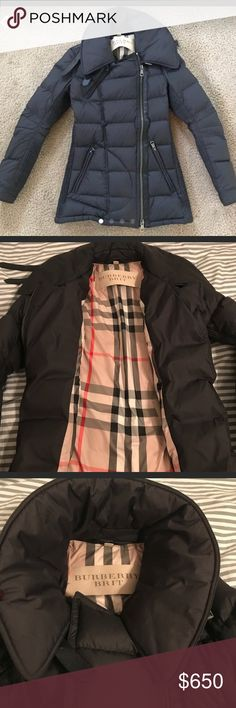 Burberry Brit puffer Coat Authentic Burberry puffer jacket  All black with classic Burberry design on the inside Size XS In great condition  Only worn a couple times; no belt This jacket was a $1200 purchase; price is firm Burberry Jackets & Coats Puffers