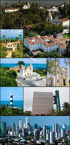 Olinda, Brazil: (Igreja de Nossa Senhora da Graça Foi), 2nd left:Church of Our Lady of the Snows (Igreja de Nossa Senhora das Neves Seminário de Olinda) in Convent of San Francisco (Convento de São Francisco), 2nd right:Church and Monastery of St. Benedict, 3rd left:Panoramic view of the Alto da Sé, from the Panoramic lift of Olinda, 3rd right:Church of Carme, 4th left:Olinda Lighthouse, 4th right:Panoramic lift of Olinda, Bottom View of Atlantic Ocean and downtown area