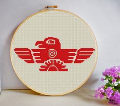 Aztec Bird Cross Stitch Pattern PDF Instant Download modern  Quirky Mayan Symbol by HeritageStitch on Etsy