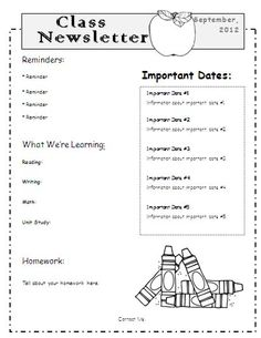teachers newsletter template free | Make sure you sign up for The ...