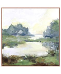 """- Willow Springs - large abstract landscape painting printed on stretched canvas - artist enhancement - custom frame - measures 35.5"""" x 35.5"""" / ready for hanging - custom made / minimum 2-4 week deliv"""