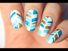 Nail art au striping tape : Plume indienne - YouTube