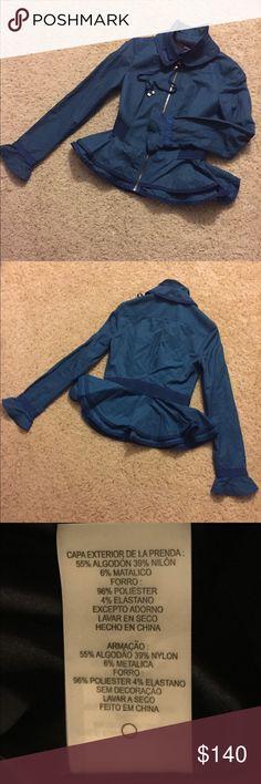 Elie Tahari windcheater-jacket aquamarine colour ,XS size,but fits for X size to.shell 55% cotton;39% nylon;6% metallic. 96%polyester;4%elastine.mint condition. Elie Tahari Jackets & Coats Blazers