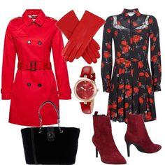 a77fb79fa2c2 Outfit Donna Chic · Abito corto tempestato di rose rosse