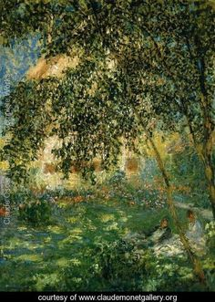 Relaxing In The Garden  Argenteuil - Claude Oscar Monet - www.claudemonetgallery.org