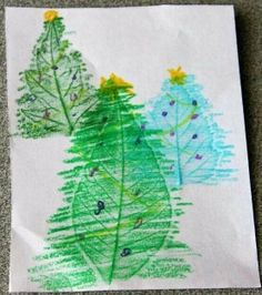 Christmas card leaf rubbings