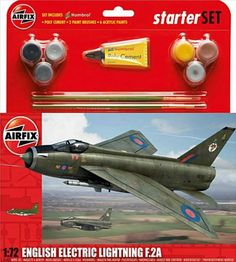 The New for 2014 Airfix English Electric Lightning Model Kit Gift Set accurately recreates the real life RAF Cold War mach 2 interceptor. This plastic aircraft kit requires paint and glue to complete. Ww2 Aircraft, Fighter Aircraft, Military Aircraft, Fighter Jets, Plastic Model Kits, Plastic Models, Airfix Models, Airfix Kits, Model Airplanes