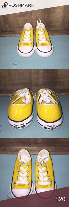 Yellow Toddler Converse Perfect condition! Worn once when my son dressed up as Mickey Mouse for Halloween. My items come from a pet free/ smoke free home. I discount bundles, and I'm open to offers! I have OTHER COLORS and SIZES of toddler CONVERSE in my closet! Converse Shoes