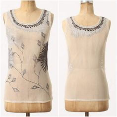 """Anthropologie Sheer Brilliance Metallic Floral Top Super amazing details Metallic bursts and creeping vines are scrawled across this mesh scoopneck. Layer over a cami for a touch of sheen. By Project Alabama. Measurement: 23"""" Length, 13.5"""" Bust. ❌No trades please❌  Cotton  Dry clean Anthropologie Tops Blouses"""