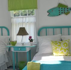 Jane Coslick Cottages: Key lime Parrot Cottage~I like this window treatment.  Not the color, but the idea of letting some of the outdoors in.