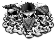 Hear No, Speak No, See No Evil Skull Temporary Tattoos - Skull Mix Tattoos