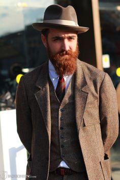 red beard brown suit