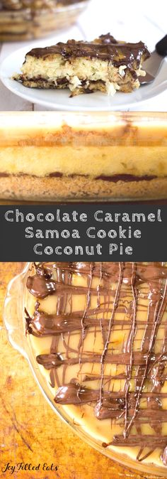 Chocolate Caramel Samoa Cookie Coconut Pie - Low Carb, Sugar/Dairy/Grain/Gluten Free, THM S via @joyfilledeats