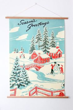 Seasons Greetings Winter Wonderland Poster This decorative paper is great for framing, making a hang Retro Christmas Decorations, Vintage Christmas Images, Vintage Christmas Ornaments, Christmas Paper, Vintage Holiday, Paper Decorations, Christmas Greetings, Christmas Gifts, Holiday Gifts