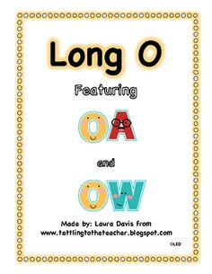 This is an activity and a word sort for the long O sound.  It includes both 'oa' and 'ow'.