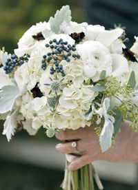 navy bridesmaids with white flowers dusty miller - Google Search
