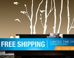 Birch Tree Wall Decals 9 ft tall Quantity of 5 by WallsNeedLove