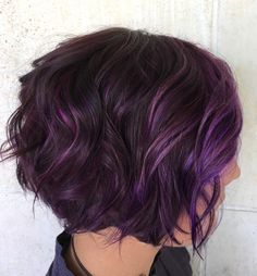 60 Messy Bob Hairstyles for Your Trendy Casual Looks Brunette Bob With Purple Balayage Short Purple Hair, Hair Color Purple, Purple Bob, Burgundy Hair, Hair Colors, Purple Ombre, Short Hair With Color, Short Ombre, Purple Style