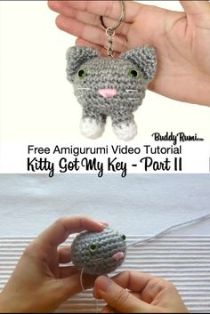 Amigurumi Video Tutorial: Kitty Got my Key : Quick amigurumi pattern. : Amigurumi Video Tutorial: Kitty Got my Key : Quick amigurumi pattern. Great for gifts and party favours. Chat Crochet, Crochet Animal Amigurumi, Quick Crochet, Crochet Animal Patterns, Amigurumi Patterns, Amigurumi Doll, Crochet Animals, Crochet Toys, Crochet Bat