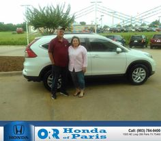 """Visited ORR Honda of Paris on 7-7-2015. Greeted immediately by Ronnie Davis. Mr. Davis was very friendly and very knowledgeable of the Honda Pilot I was interested in. However, I ended up buying a 2015 Honda CR-V. Mr. Davis made the """"deal"""" painless. He defiantly knows """"The Art of The Deal"""". My husband and I will be back for service and another new Honda!- thomas & cindy jarrell,  Tuesday, July 07, 2015…"""