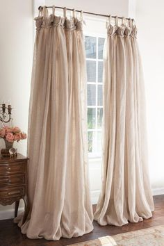 35 Amazingly Pretty Shabby Chic Bedroom Design and Decor Ideas - The Trending House Drapes And Blinds, Drapery Panels, Drapes Curtains, Silk Drapes, Blue Drapes, Ikea Linen Curtains, Valances, Cottage Curtains, Living Room Decor Curtains