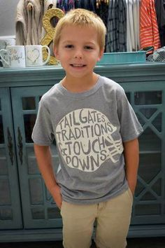Click to shop our Littles Collection! | Gray Tailgates, Traditions & Touchdowns Tee Shirt | Jack & Monroe Boutique | Free Shipping | Boys Football Shirt