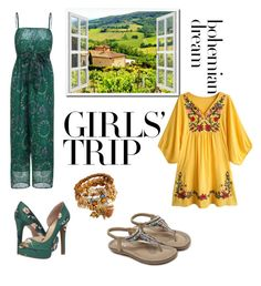 """Wine tasting trip"" by th3futur3isf3mal3 on Polyvore featuring Jessica Simpson, girlstrip and WineTastingOutfit"
