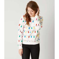 Recycled Karma Christmas Lights Sweatshirt - Cream Large ($37) ❤ liked on Polyvore featuring tops, hoodies, sweatshirts, cream, christmas tops, cream top, christmas sweatshirts, white sweatshirt and cream sweatshirt