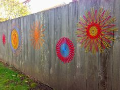 String art fence –  yard blooms year-round