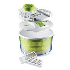 The Sharper Image® 4-In-1 Salad Spinner Mandoline Slicer by The Sharper Image. $29.99. The Sharper Image® 4-In-1 Salad Spinner Mandoline Slicer. Use this 4-in-1 handy helper to spin, slice, serve and store veggies and cheeses. It not only sheds water from greens, but slices vegetables right into the bowl. The unique mandoline lid includes 3 interchangeable blades to slice or grate. The blades conveniently store in the lid when not in use. The spinner features an easy pump ...