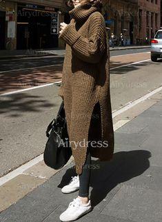 Vestidos Algodón Básico A media pierna Manga larga Liso (1112095) @