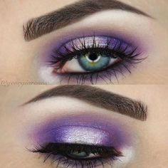 Vibrant purple eyes by MUA georgiarosex. Shimmery purple eye makeup created using @sugarpill 'poison plum' eyeshadow, makeup revolution 'Pure Platinum Awesome Metals' eyeshadow, Urban Decay Cosmic e/s, @GirlsAttitude 'dare to wear' false lashes, @ABHcosmetics 'Dark Brown Brow Wiz + Dipbrow Pomade.' #makeupartist #makeupideas
