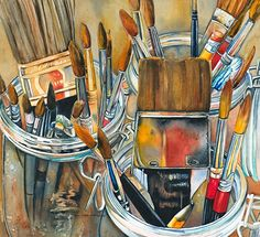 """Tools of the Trade by Lori Pitten Jenkins Watercolor ~ 19"""" x 21"""""""