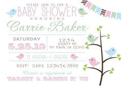 Bird themed baby shower invitationprintable by RAWkonversations, $12.00