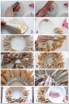 A how to guide to making the book page wreath